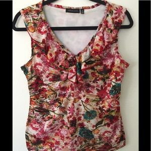 NOTATIONS SLEEVELESS FLOWERED BLOUSE- SIZE S
